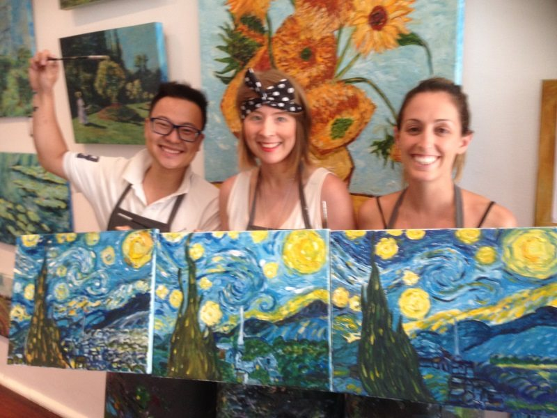 Van Gogh: Starry Night -  painted by a 3 beginners in their first lesson at Inglis Academy!