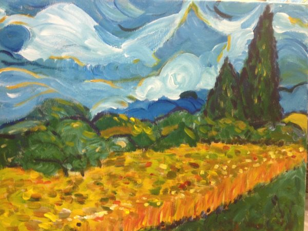 Van Gogh's Wheatfield with Cypresses, painted in one session at Inglis Academy.
